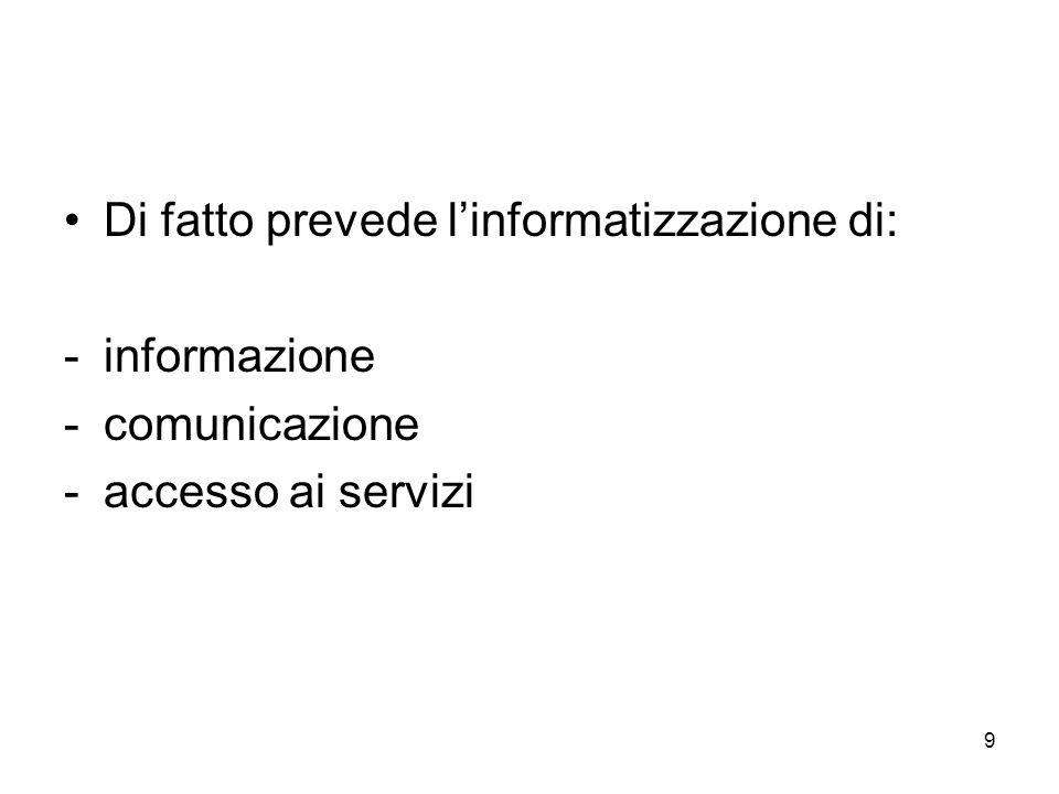 9 Di fatto prevede linformatizzazione di: -informazione -comunicazione -accesso ai servizi