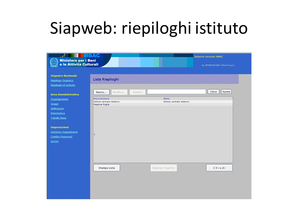Siapweb: riepiloghi istituto