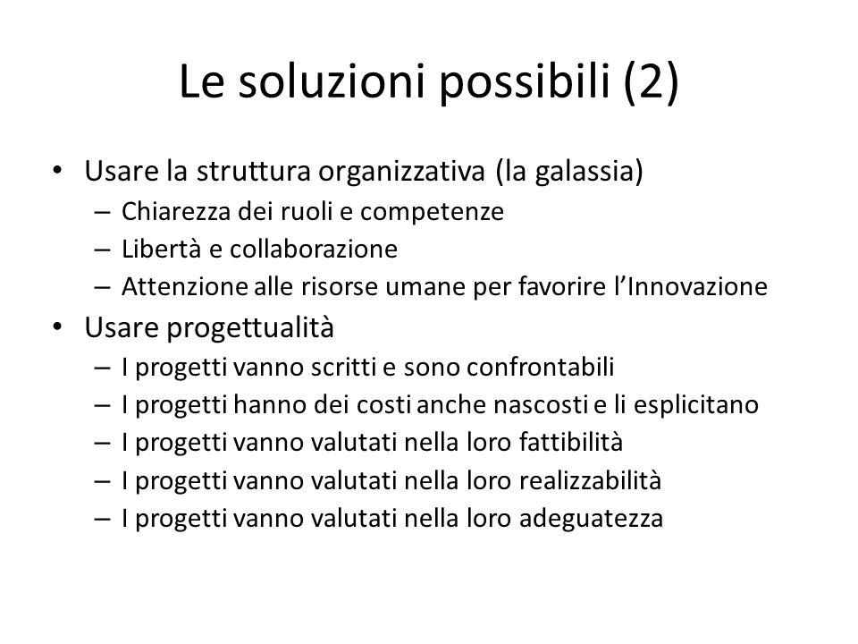 Le soluzioni possibili (2) Usare la struttura organizzativa (la galassia) – Chiarezza dei ruoli e competenze – Libertà e collaborazione – Attenzione a