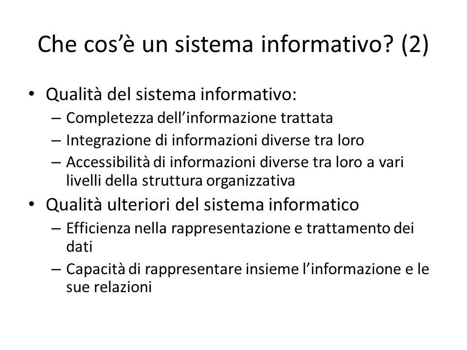 Che cosè un sistema informativo? (2) Qualità del sistema informativo: – Completezza dellinformazione trattata – Integrazione di informazioni diverse t