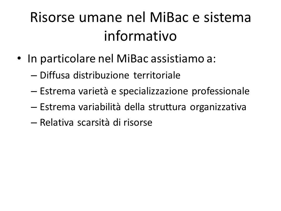 Risorse umane nel MiBac e sistema informativo In particolare nel MiBac assistiamo a: – Diffusa distribuzione territoriale – Estrema varietà e speciali