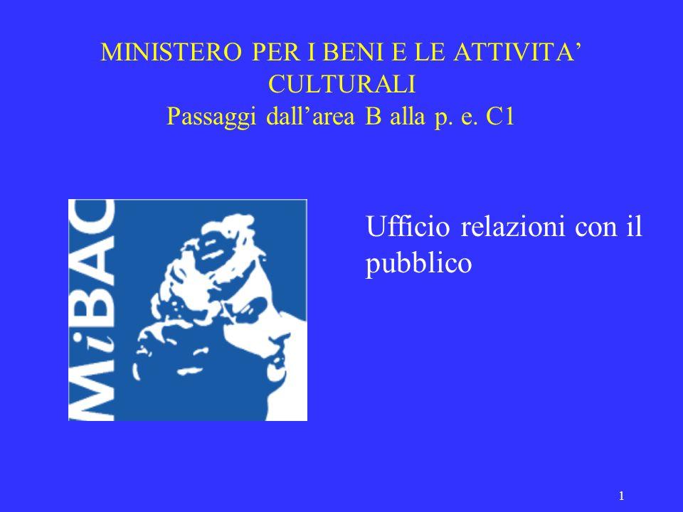 1 MINISTERO PER I BENI E LE ATTIVITA CULTURALI Passaggi dallarea B alla p. e. C1 Ufficio relazioni con il pubblico