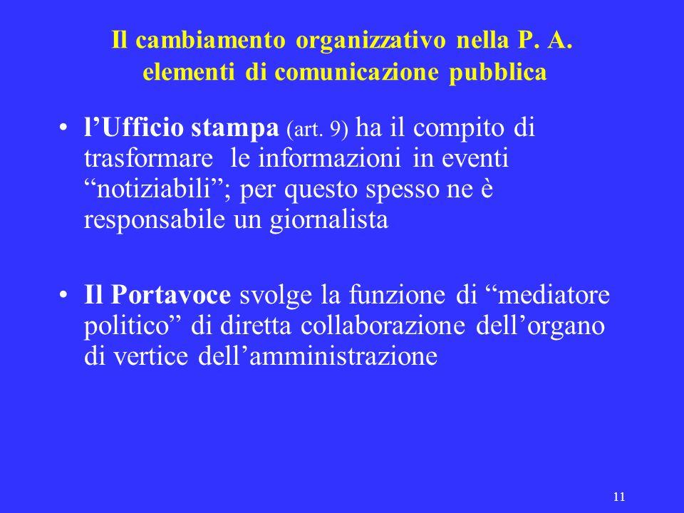11 Il cambiamento organizzativo nella P. A. elementi di comunicazione pubblica lUfficio stampa (art. 9) ha il compito di trasformare le informazioni i