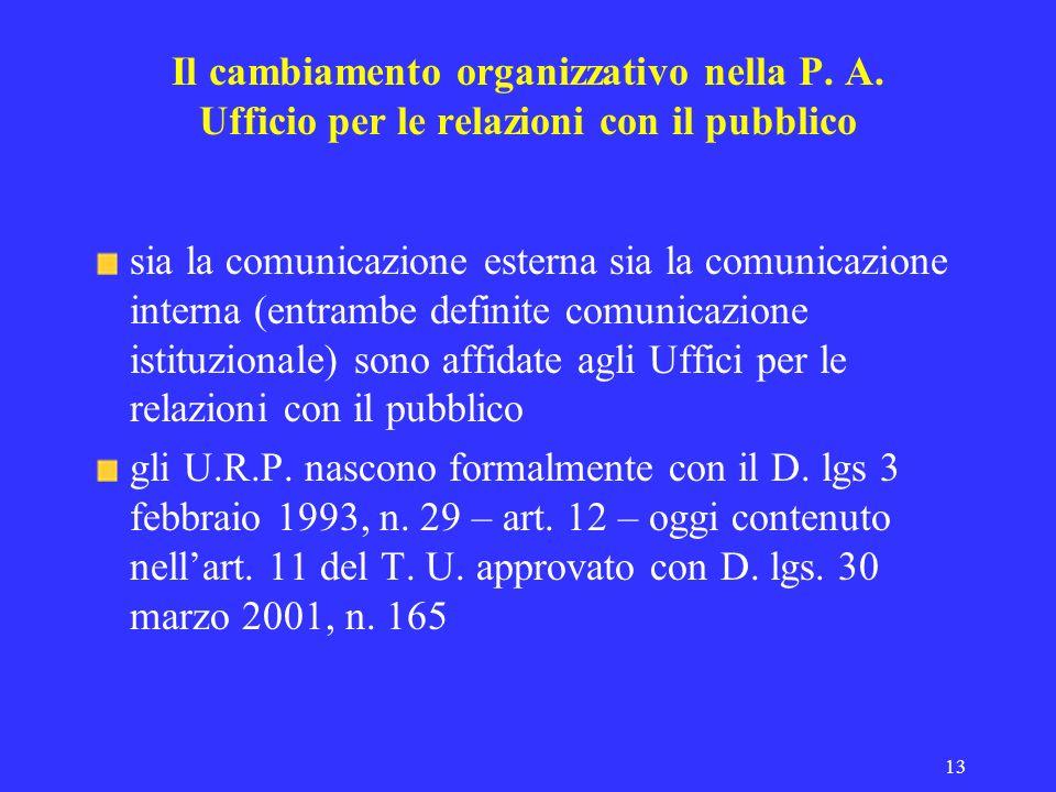 13 Il cambiamento organizzativo nella P. A. Ufficio per le relazioni con il pubblico sia la comunicazione esterna sia la comunicazione interna (entram