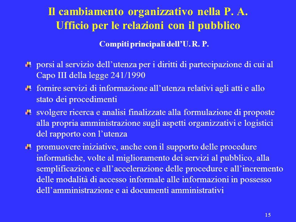 15 Il cambiamento organizzativo nella P. A. Ufficio per le relazioni con il pubblico Compiti principali dellU. R. P. porsi al servizio dellutenza per