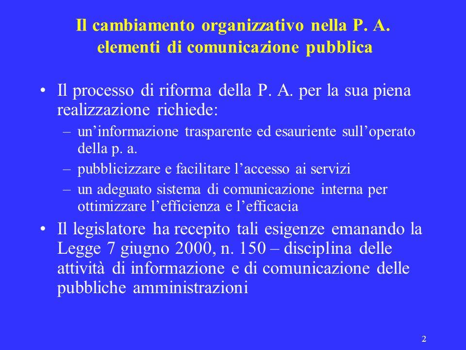 2 Il cambiamento organizzativo nella P. A. elementi di comunicazione pubblica Il processo di riforma della P. A. per la sua piena realizzazione richie