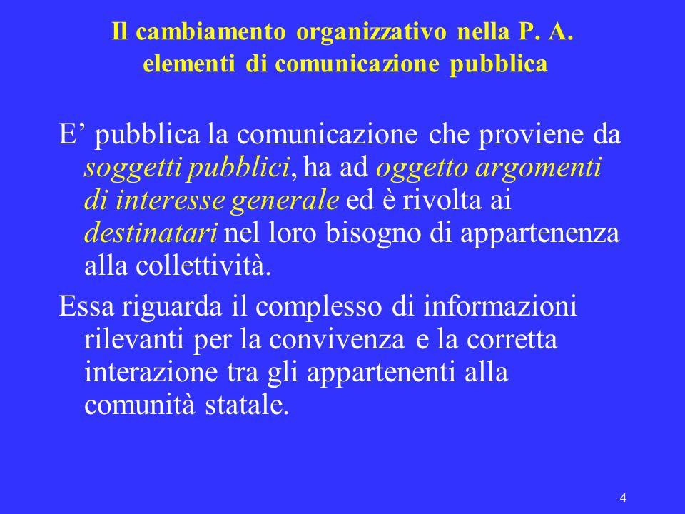 4 Il cambiamento organizzativo nella P. A. elementi di comunicazione pubblica E pubblica la comunicazione che proviene da soggetti pubblici, ha ad ogg
