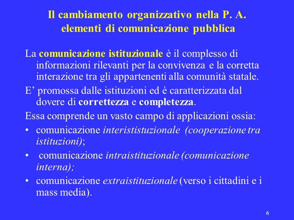 6 Il cambiamento organizzativo nella P. A. elementi di comunicazione pubblica La comunicazione istituzionale è il complesso di informazioni rilevanti