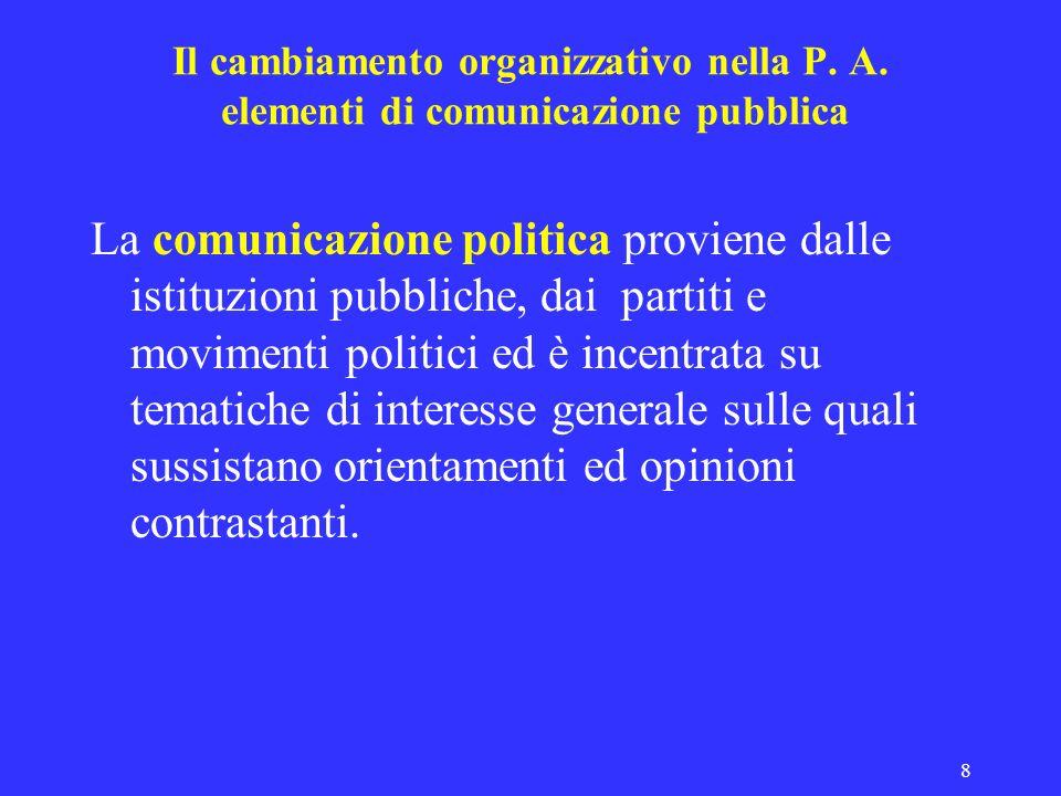 8 Il cambiamento organizzativo nella P. A. elementi di comunicazione pubblica La comunicazione politica proviene dalle istituzioni pubbliche, dai part