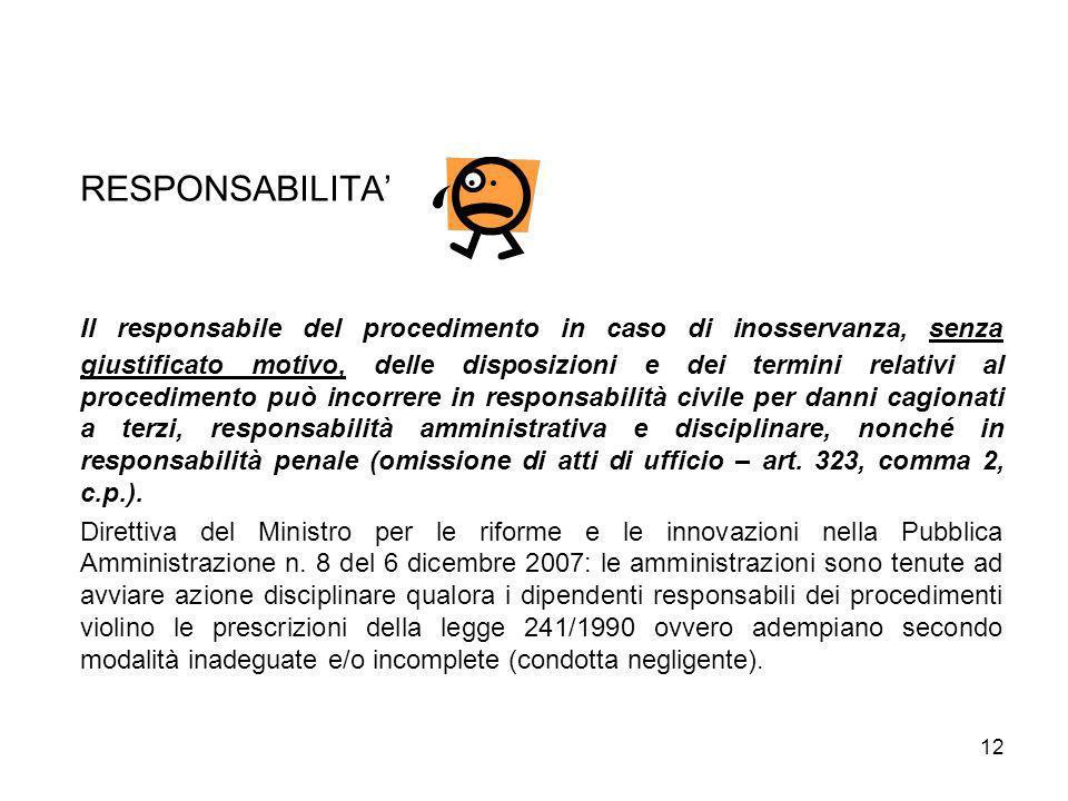 12 RESPONSABILITA Il responsabile del procedimento in caso di inosservanza, senza giustificato motivo, delle disposizioni e dei termini relativi al pr
