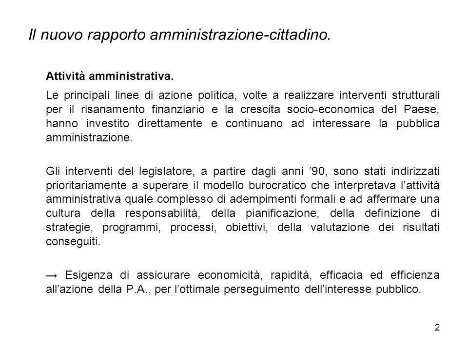 2 Il nuovo rapporto amministrazione-cittadino. Attività amministrativa. Le principali linee di azione politica, volte a realizzare interventi struttur