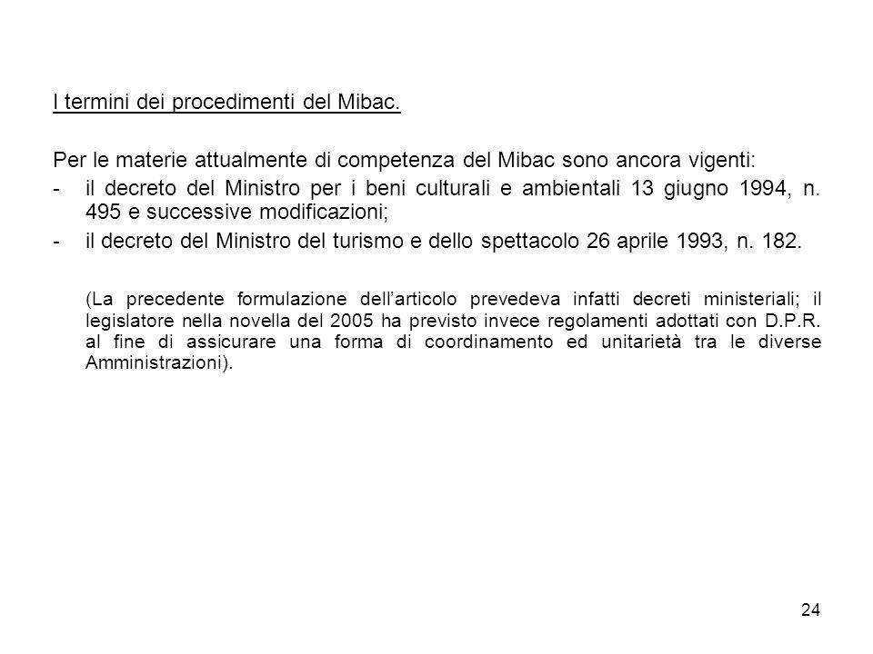 24 I termini dei procedimenti del Mibac. Per le materie attualmente di competenza del Mibac sono ancora vigenti: -il decreto del Ministro per i beni c