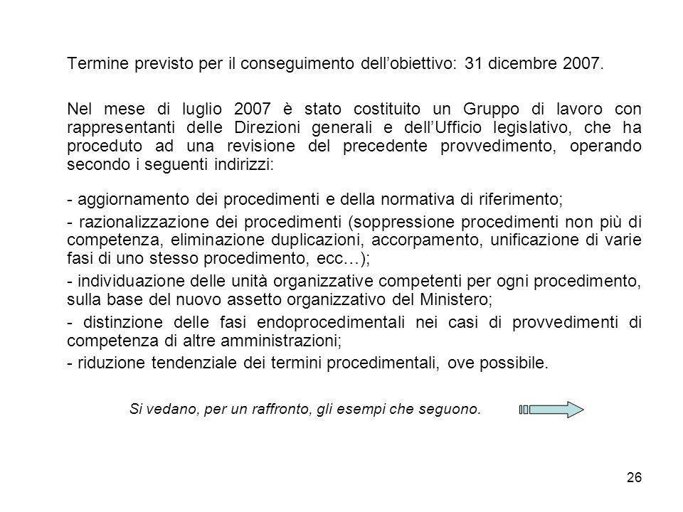 26 Termine previsto per il conseguimento dellobiettivo: 31 dicembre 2007. Nel mese di luglio 2007 è stato costituito un Gruppo di lavoro con rappresen