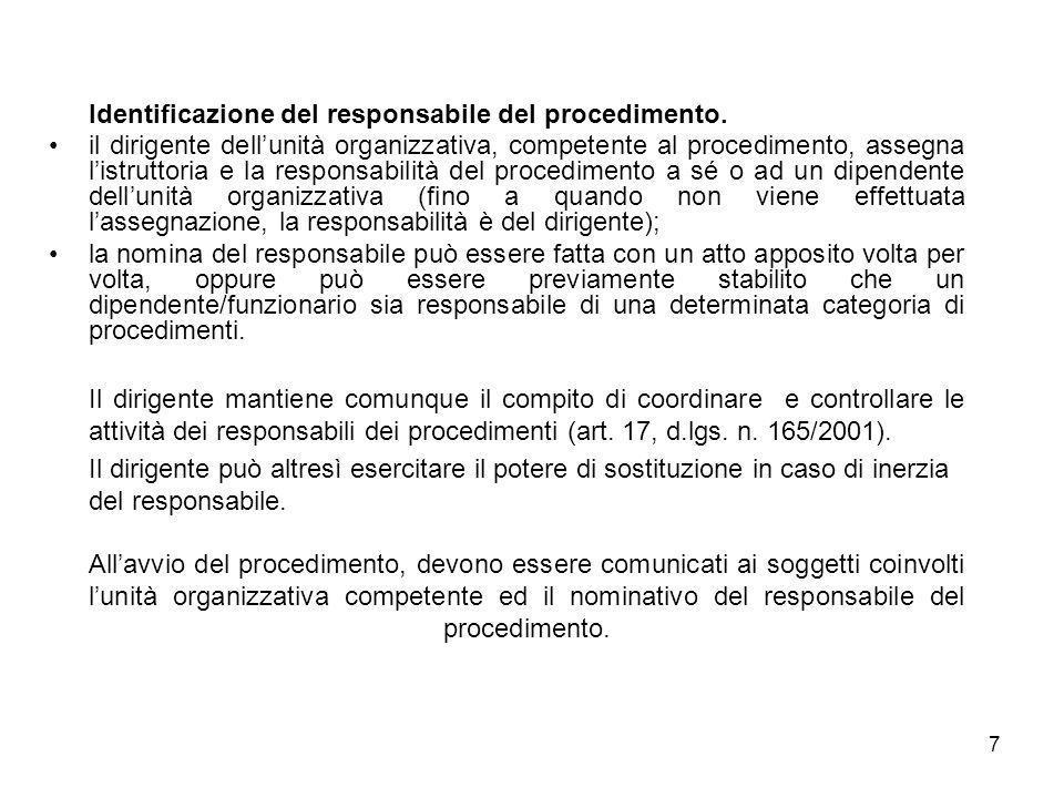 7 Identificazione del responsabile del procedimento. il dirigente dellunità organizzativa, competente al procedimento, assegna listruttoria e la respo