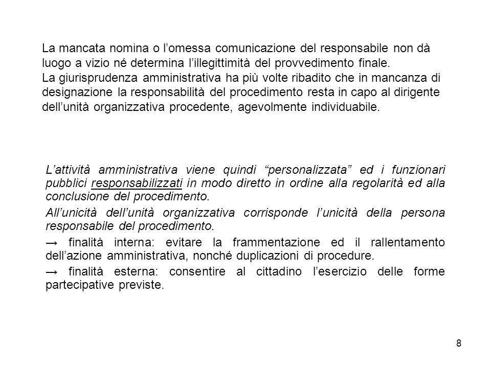 8 La mancata nomina o lomessa comunicazione del responsabile non dà luogo a vizio né determina lillegittimità del provvedimento finale. La giurisprude