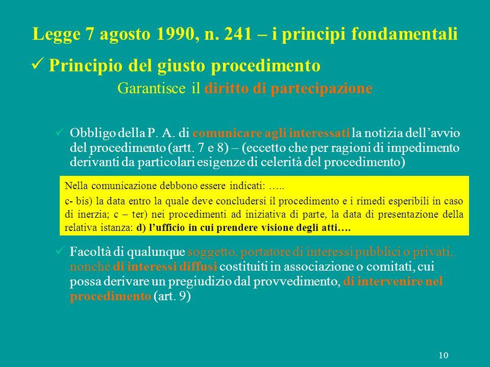 10 Legge 7 agosto 1990, n. 241 – i principi fondamentali Principio del giusto procedimento Garantisce il diritto di partecipazione Obbligo della P. A.