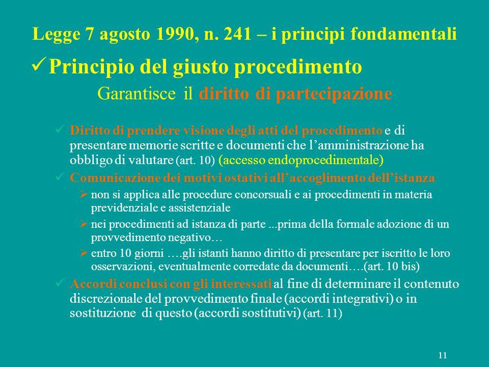 11 Legge 7 agosto 1990, n. 241 – i principi fondamentali Principio del giusto procedimento Garantisce il diritto di partecipazione Diritto di prendere