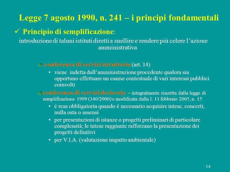 14 Legge 7 agosto 1990, n. 241 – i principi fondamentali Principio di semplificazione: introduzione di taluni istituti diretti a snellire e rendere pi