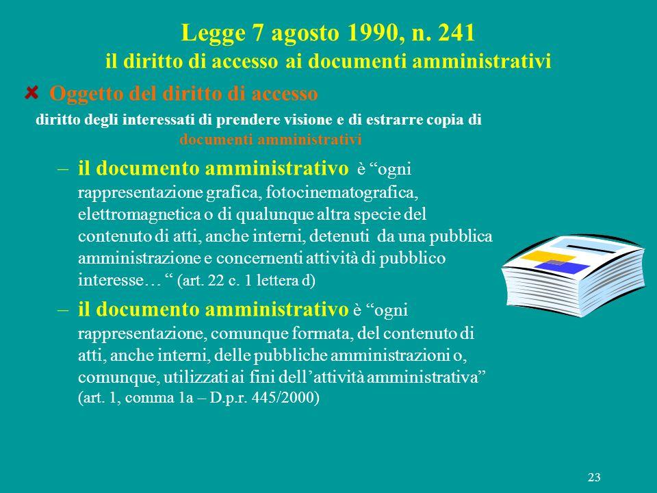 23 Legge 7 agosto 1990, n. 241 il diritto di accesso ai documenti amministrativi Oggetto del diritto di accesso diritto degli interessati di prendere