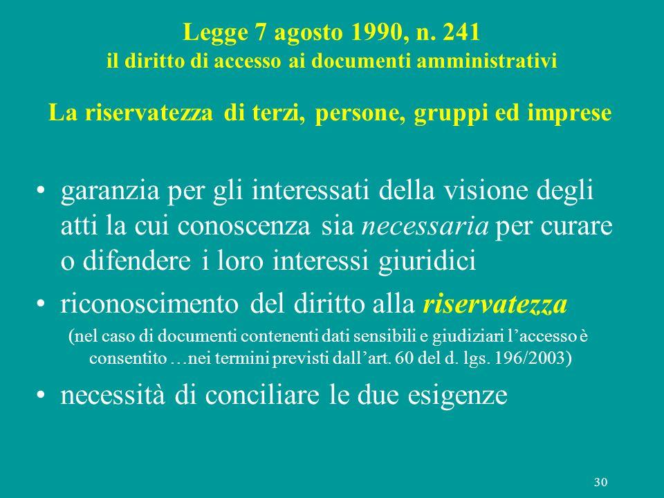 30 Legge 7 agosto 1990, n. 241 il diritto di accesso ai documenti amministrativi La riservatezza di terzi, persone, gruppi ed imprese garanzia per gli