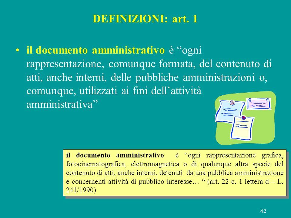 42 DEFINIZIONI: art. 1 il documento amministrativo è ogni rappresentazione, comunque formata, del contenuto di atti, anche interni, delle pubbliche am