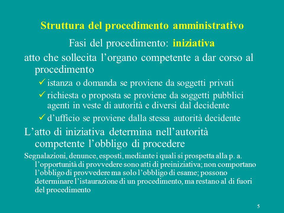 5 Struttura del procedimento amministrativo Fasi del procedimento: iniziativa atto che sollecita lorgano competente a dar corso al procedimento istanz