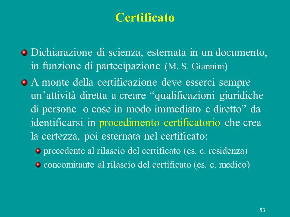 53 Certificato Dichiarazione di scienza, esternata in un documento, in funzione di partecipazione (M. S. Giannini) A monte della certificazione deve e