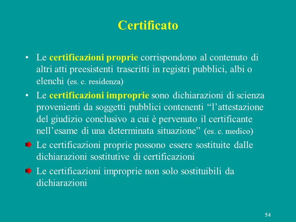 54 Certificato Le certificazioni proprie corrispondono al contenuto di altri atti preesistenti trascritti in registri pubblici, albi o elenchi (es. c.