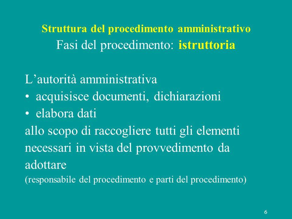 6 Struttura del procedimento amministrativo Fasi del procedimento: istruttoria Lautorità amministrativa acquisisce documenti, dichiarazioni elabora da