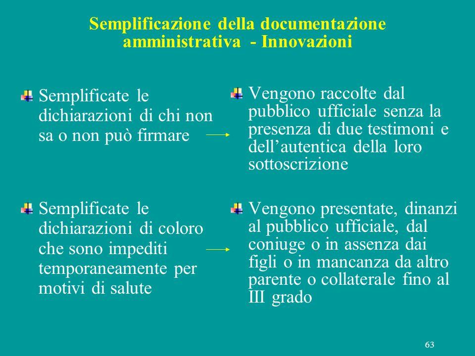 63 Semplificazione della documentazione amministrativa - Innovazioni Semplificate le dichiarazioni di chi non sa o non può firmare Semplificate le dic