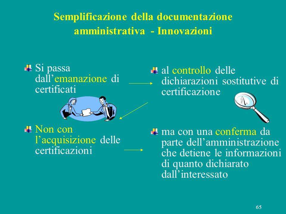 65 Semplificazione della documentazione amministrativa - Innovazioni Si passa dallemanazione di certificati Non con lacquisizione delle certificazioni