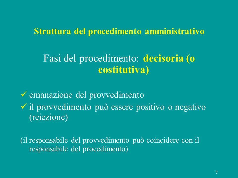 7 Struttura del procedimento amministrativo Fasi del procedimento: decisoria (o costitutiva) emanazione del provvedimento il provvedimento può essere