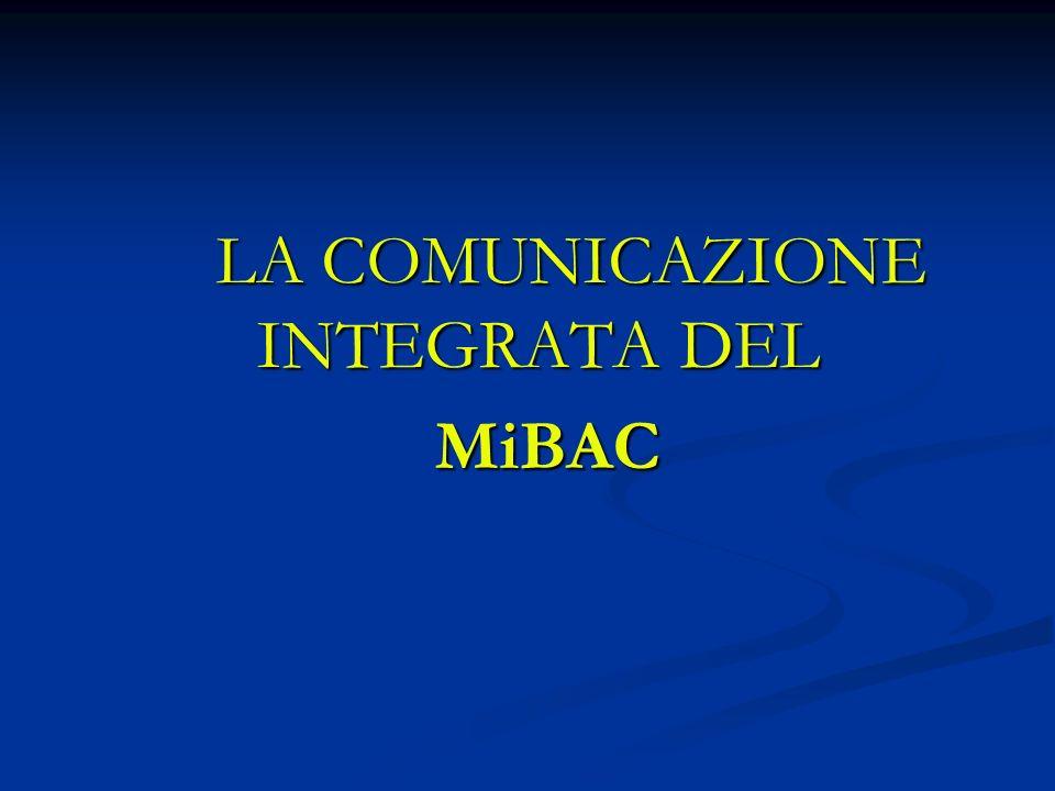 LA COMUNICAZIONE INTEGRATA DEL MiBAC MiBAC
