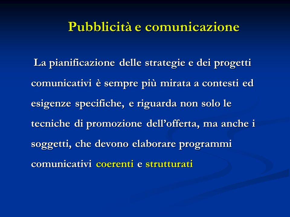 Pubblicità e comunicazione La pianificazione delle strategie e dei progetti comunicativi è sempre più mirata a contesti ed esigenze specifiche, e rigu