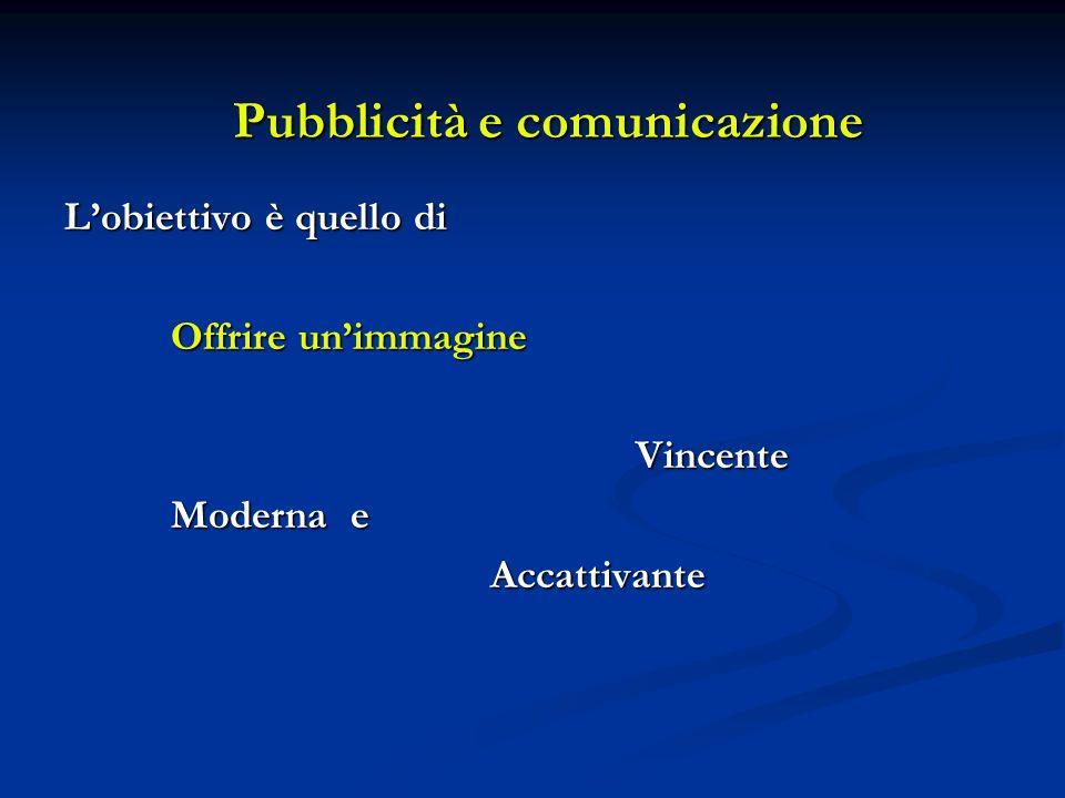 Pubblicità e comunicazione Lobiettivo è quello di Offrire unimmagine Vincente Vincente Moderna e Accattivante