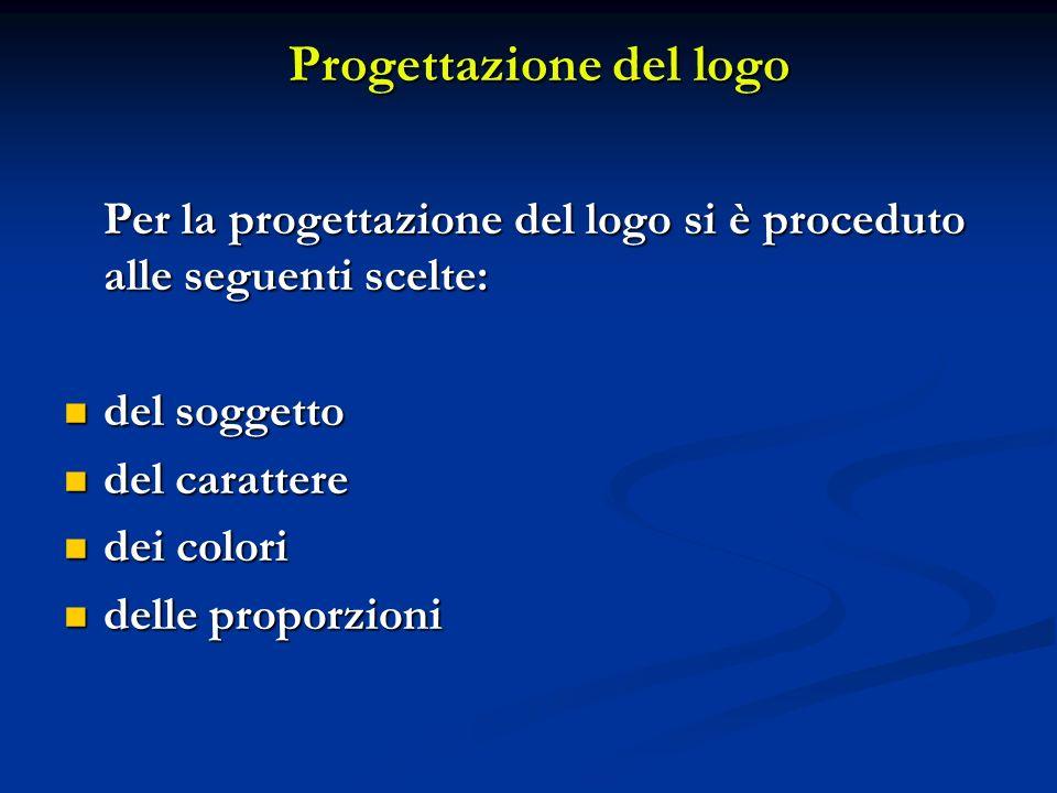 Progettazione del logo Per la progettazione del logo si è proceduto alle seguenti scelte: del soggetto del soggetto del carattere del carattere dei colori dei colori delle proporzioni delle proporzioni