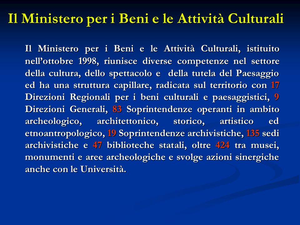 Il Ministero per i Beni e le Attività Culturali Il Ministero per i Beni e le Attività Culturali, istituito nellottobre 1998, riunisce diverse competen