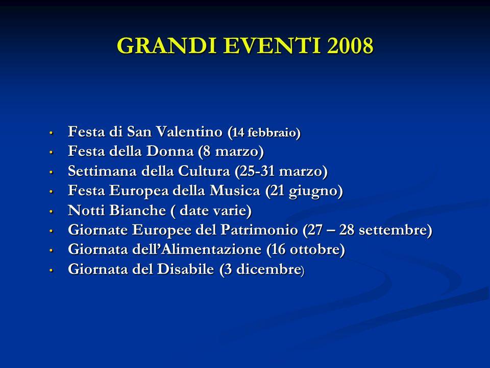 GRANDI EVENTI 2008 Festa di San Valentino ( 14 febbraio) Festa di San Valentino ( 14 febbraio) Festa della Donna (8 marzo) Festa della Donna (8 marzo) Settimana della Cultura (25-31 marzo) Settimana della Cultura (25-31 marzo) Festa Europea della Musica (21 giugno) Festa Europea della Musica (21 giugno) Notti Bianche ( date varie) Notti Bianche ( date varie) Giornate Europee del Patrimonio (27 – 28 settembre) Giornate Europee del Patrimonio (27 – 28 settembre) Giornata dellAlimentazione (16 ottobre) Giornata dellAlimentazione (16 ottobre) Giornata del Disabile (3 dicembre ) Giornata del Disabile (3 dicembre )
