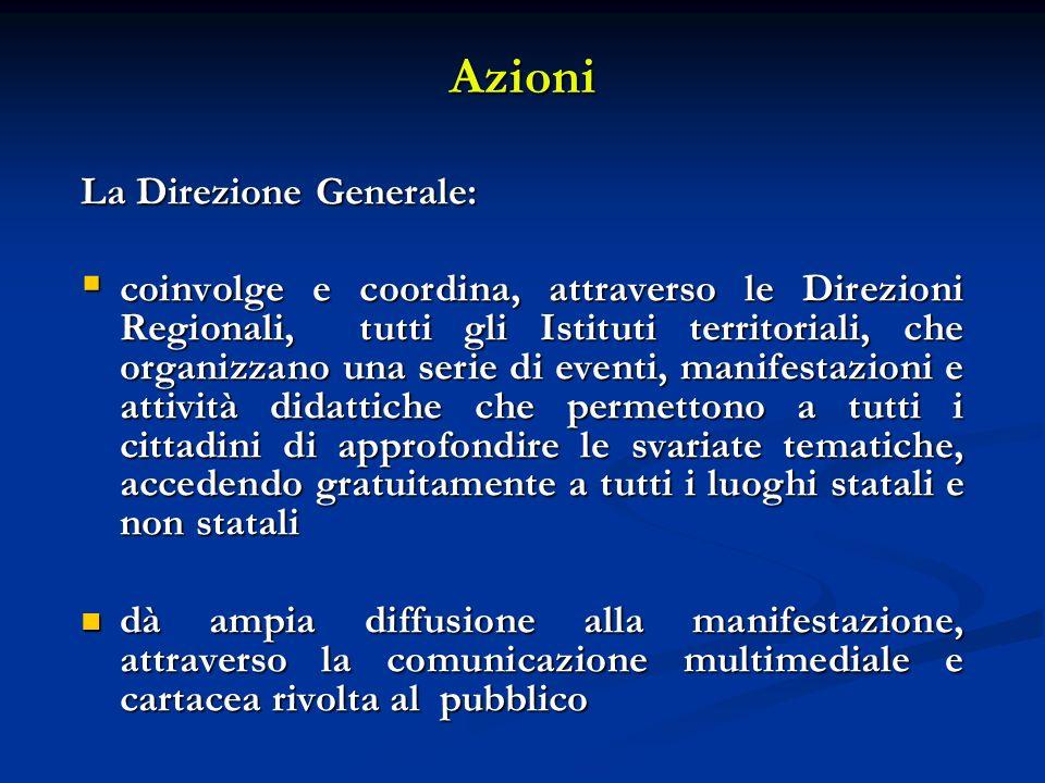 Azioni La Direzione Generale: coinvolge e coordina, attraverso le Direzioni Regionali, tutti gli Istituti territoriali, che organizzano una serie di e