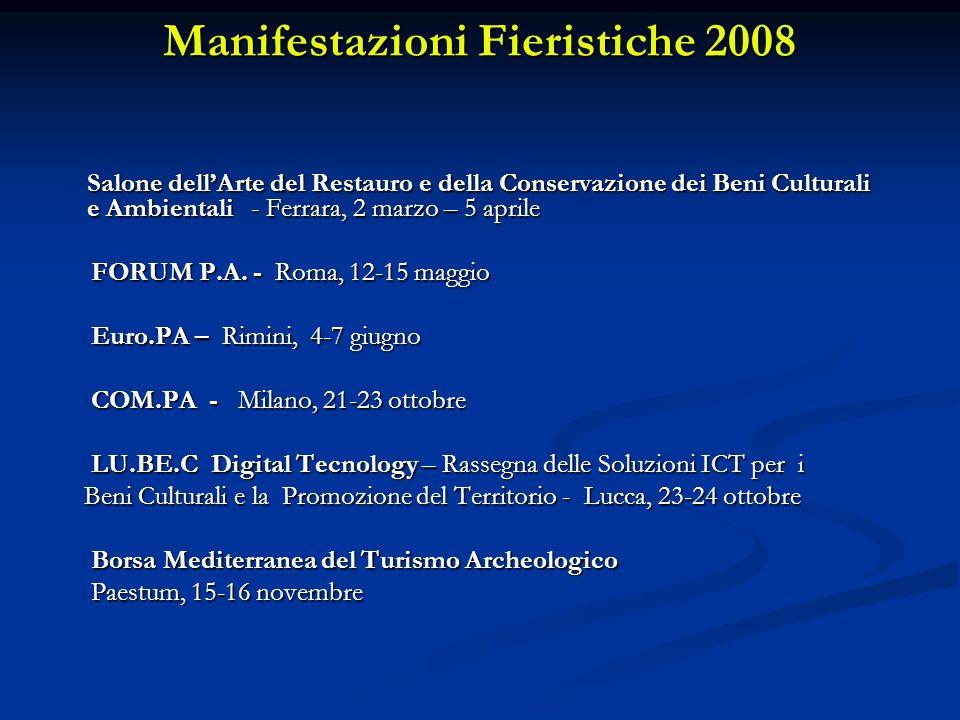 Manifestazioni Fieristiche 2008 Salone dellArte del Restauro e della Conservazione dei Beni Culturali e Ambientali - Ferrara, 2 marzo – 5 aprile FORUM P.A.