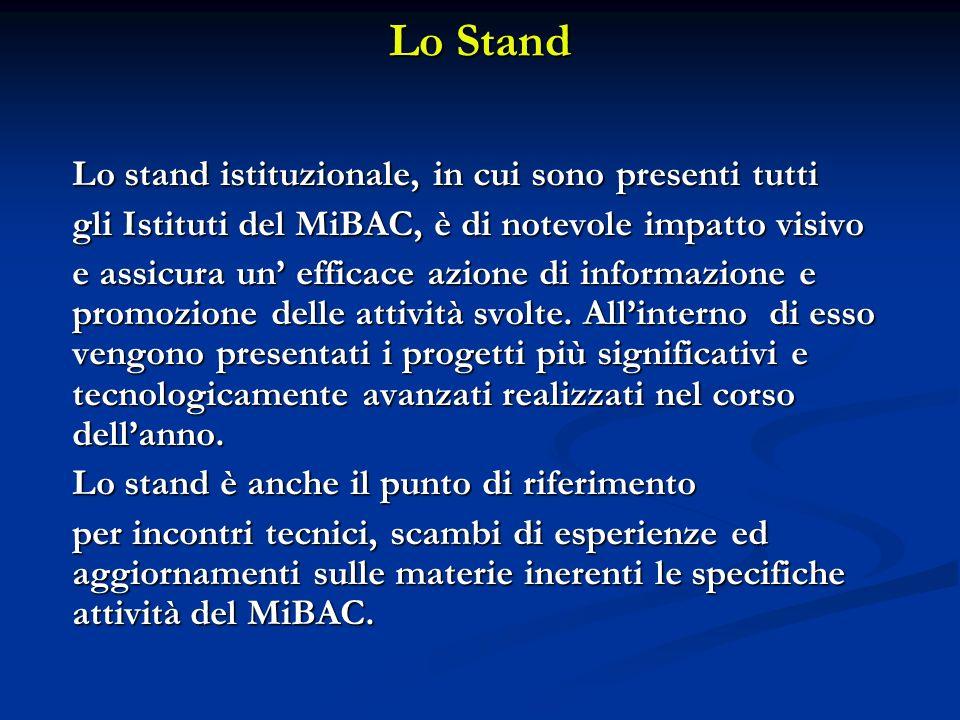 Lo Stand Lo stand istituzionale, in cui sono presenti tutti gli Istituti del MiBAC, è di notevole impatto visivo e assicura un efficace azione di informazione e promozione delle attività svolte.