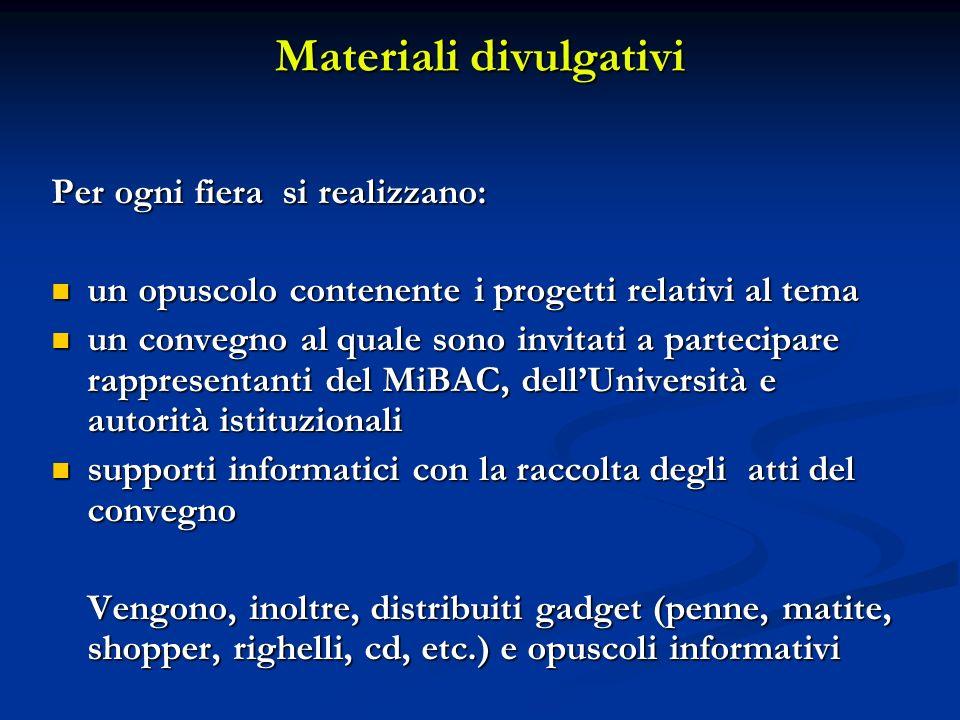 Materiali divulgativi Per ogni fiera si realizzano: un opuscolo contenente i progetti relativi al tema un opuscolo contenente i progetti relativi al t