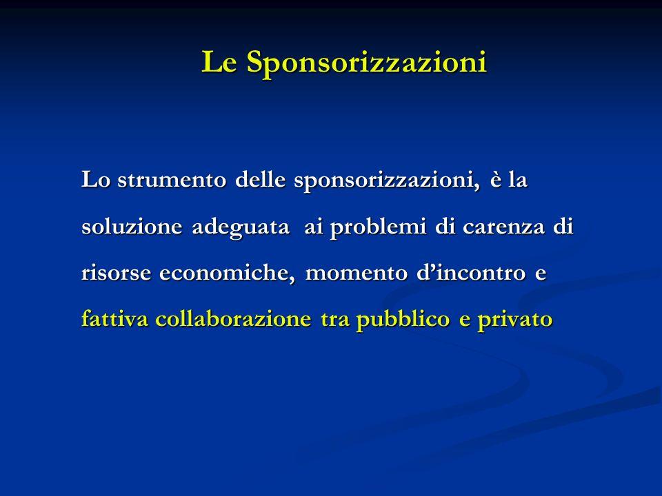 Le Sponsorizzazioni Lo strumento delle sponsorizzazioni, è la soluzione adeguata ai problemi di carenza di risorse economiche, momento dincontro e fattiva collaborazione tra pubblico e privato