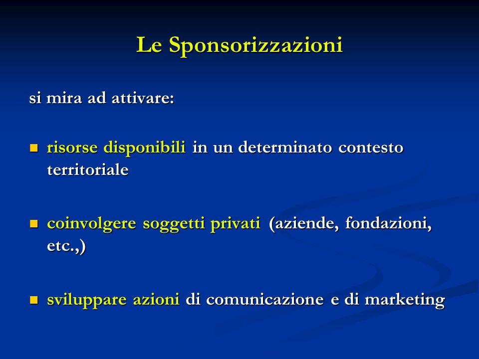 Le Sponsorizzazioni si mira ad attivare: risorse disponibili in un determinato contesto territoriale risorse disponibili in un determinato contesto te