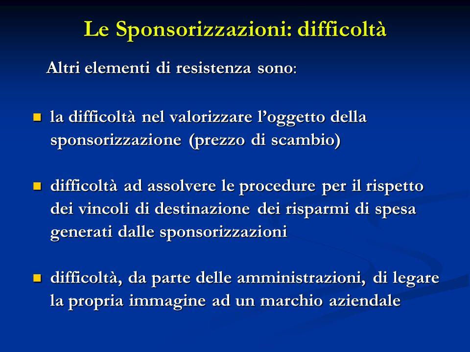 Le Sponsorizzazioni: difficoltà Altri elementi di resistenza sono: Altri elementi di resistenza sono: la difficoltà nel valorizzare loggetto della spo