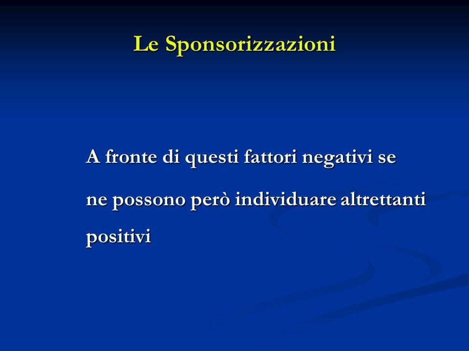 Le Sponsorizzazioni A fronte di questi fattori negativi se ne possono però individuare altrettanti positivi