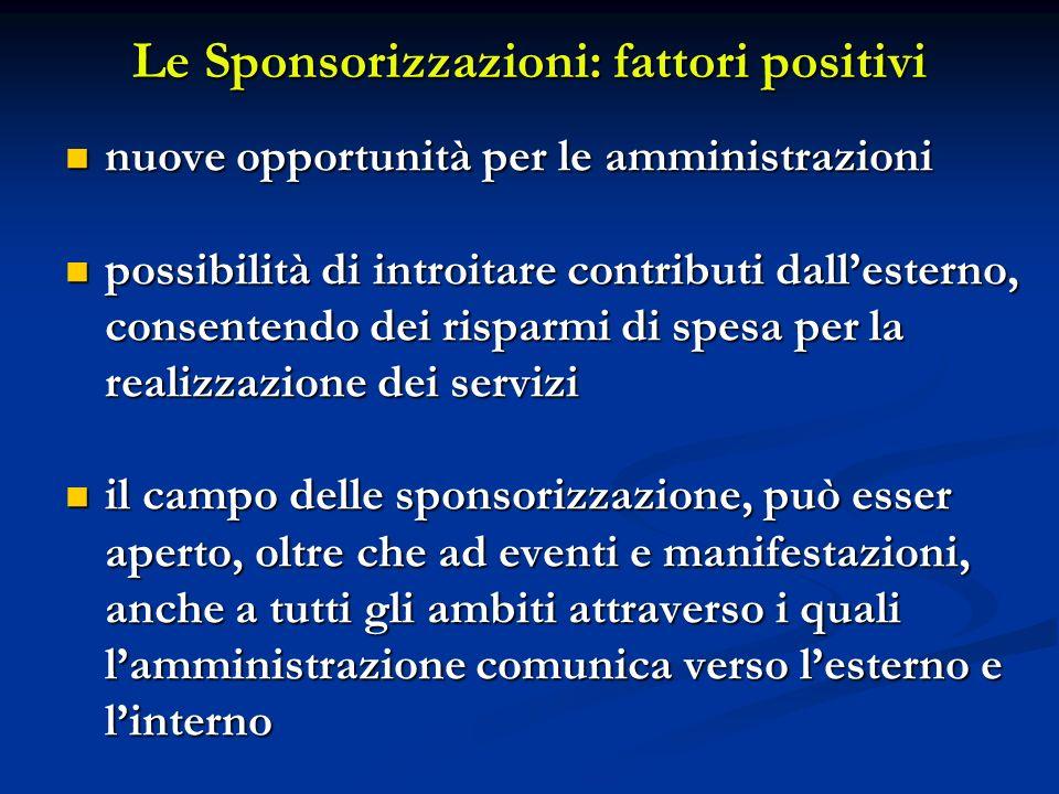 Le Sponsorizzazioni: fattori positivi nuove opportunità per le amministrazioni nuove opportunità per le amministrazioni possibilità di introitare cont