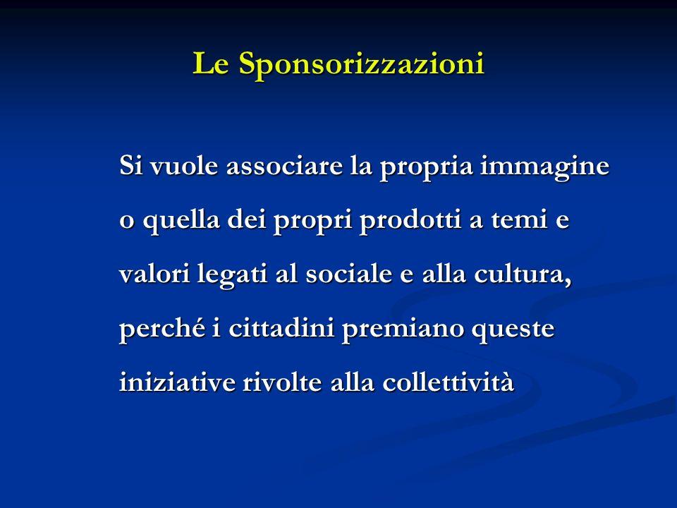 Le Sponsorizzazioni Si vuole associare la propria immagine o quella dei propri prodotti a temi e valori legati al sociale e alla cultura, perché i cittadini premiano queste iniziative rivolte alla collettività