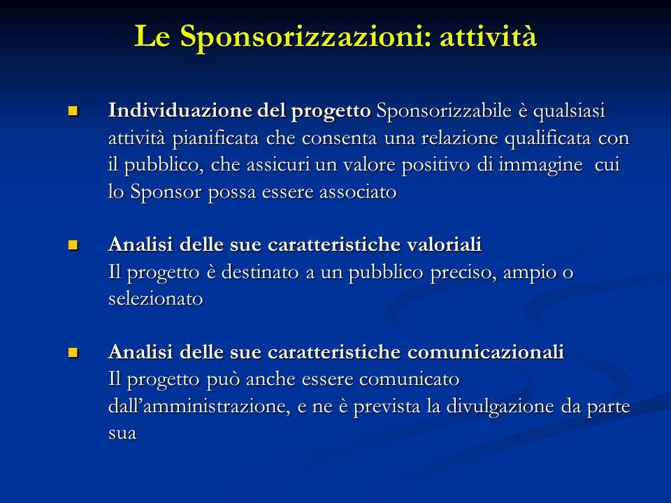 Le Sponsorizzazioni: attività Individuazione del progetto Sponsorizzabile è qualsiasi attività pianificata che consenta una relazione qualificata con