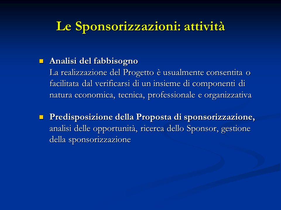 Le Sponsorizzazioni: attività Analisi del fabbisogno Analisi del fabbisogno La realizzazione del Progetto è usualmente consentita o facilitata dal ver